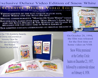 Walt Disney's Masterpiece Snow White and The Seven Dwarfs Exclusive Deluxe Video Edition with all original Memorbilia, Issued 1984