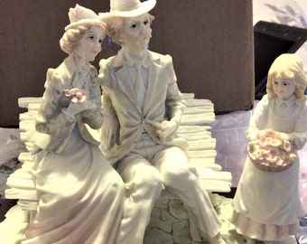 Vintage Figurine, Family in the Park, 1984, BY DESIGNER Belcari , In Excellent Condition, with Reduced Shipping