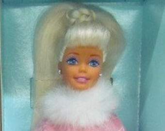 1997 Winter Dazzle Barbie by Mattel for General Mills, VERY BEAUTIFUL Limitied Edition Barbie is Blonde wearing her Pink and Fur, She is New
