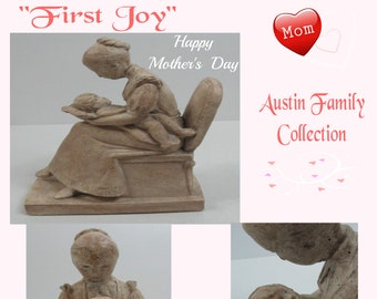 "Grandmother Gift, Austin Family Collection ""FIRST JOY"" Figurine Grandma holding baby,  In Excellent Condition, With Reduced Shipping"