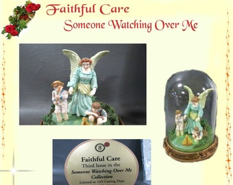 "Bradford Exchange ""Faithful Care"" LE ,  part of the Someone Watching over Me Collection , Angel watching over boys fishing, In  Dome Glass"