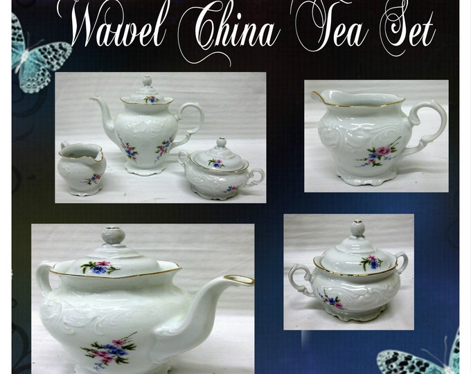 Wawel White Flower Painted Tea Pot Set- Complete with Five  Peices  includes Tea Pot with Lid, Creamer , Sugar Bowl with Lid w Reduced Shipp