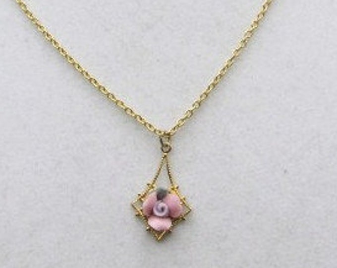 Vintage Antique Rose Pendant  with a Gold tone Chain 9' , Very Beautiful Danty Rose , With Reduced Shipping