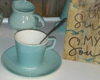 Art Deco Coffee Set that includes Four Cups and Four Saucers, Teal Blue and very pretty on your Coffee  Bar