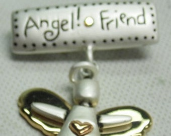 Vintage Angel Friend Pin, In Silver and Gold tone, Perfect gift for your Best Friend, Really cute Angel Pin