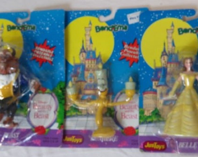 Vintage Beauty and the Beast Bendable Figures, Includes Beauty, Beast and Lumiere, in the original unopened package.