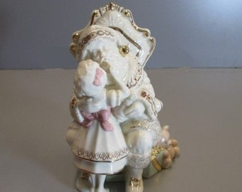 Lenox Santa Figurine in the original box in Mint Condition, Santa and Little Girl, Beautiful Santa Figurine With Girl with Pink Ribbon