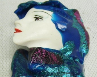 Vintage Metallic Blue  Fashion Pin, Lady in Blue, Lady of the 50' with her red lipstick and a Blue scarf,. In Excellent Condition