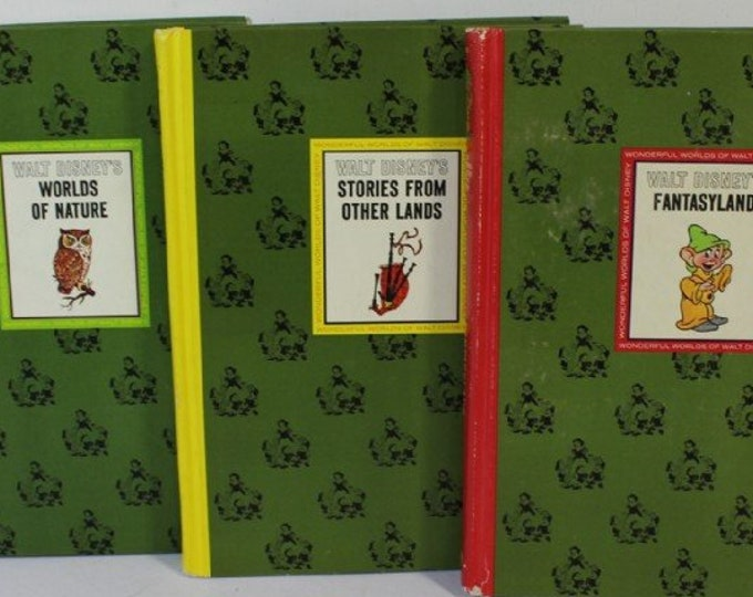 Fathers Day Gift, ,  Disney Hardback Books 1965,  Stories from other Lands, Worlds of Nature and Fantasyland, All in EUC, w/ Reduced Ship