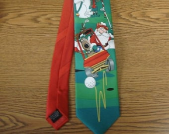 Man's Christmas Golf Tie with Santa riding the Golf Cart, Perfect Gift for the Golfer on your list,, Hallmark Gift Tie in Excellent C ond