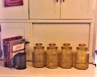 Vintage Amber Glass Canisters from the 70's - Set of Four for the  Kitchen in Excellent Condition  With Reduced Shipping