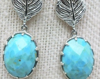 Gift for her, Vintage Sterling Silver with Authenic Turquoise post ear rings, Beautiful Set in Excellent Condition, With Reduced Shiupping
