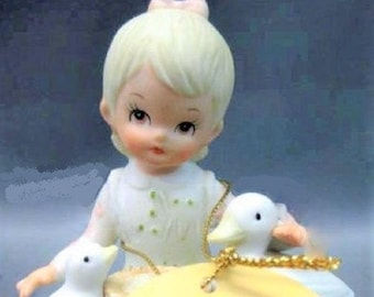 "Lefton China Figurine ""Little Girl with Ducks"" Excellent condition,  Special Gift, With Reduced Shipping"