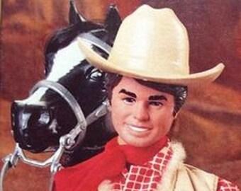 Horse Loving Ken Doll, Western Brunette Ken Doll, 1982, Vintage Collectable, in original unopened box