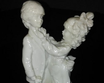 Belcari White Bisque Vintage Figurine , Mother and Son,  in Excellent Condition with no Cracks or chips,  Rare