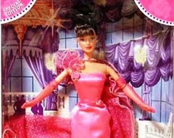 Pink Inspiration Barbie, Brunette in her Long Pink Satan Evening Gown and Gloves, With Reduced Shipping