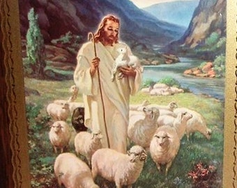 Kriebel and Bates Litho Of Jesus and his Flock,  signed by Sallman 1947, In Excellent Condition, beautiful Photo for your home for Christmas