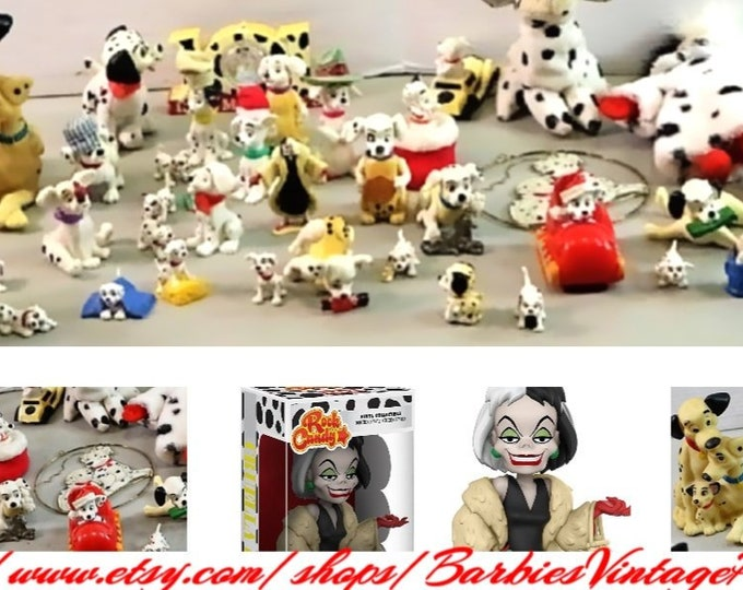Disney 101 Dalmations Large Collection of Figurines, Stuffed Animals, Clock, Bank, Hanging Sign and a couple of Cru Ella Deville Figrines