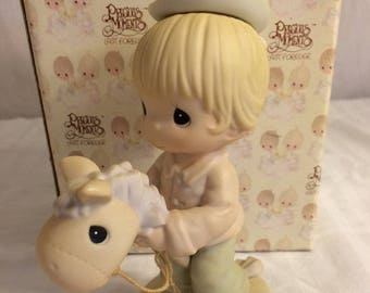 """Precious Moments Figurine """" Hope your up and on the trail again"""" in the original box , w/ reduced shipping."""
