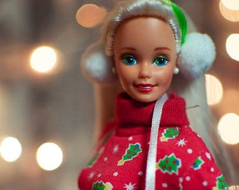 Barbie Carrolling Fun , Christmas Barbie New in Box, Blonde Barbie with her Christmas Sweater/ Leggings , Ear Muffs and gloves, Reduced Sh