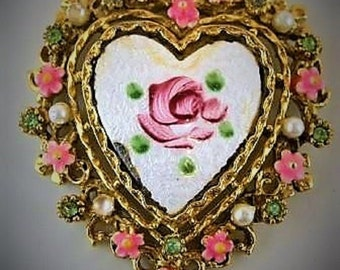 Vintage Signed ART Heart Pendant w/  white pearls and pink flowers,   1950's Era Jewerly,  In Good condition, With Reduced shipping