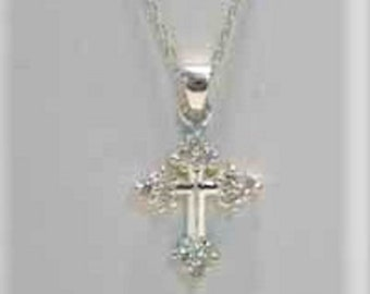"19"" Sterling Glass Stone Cross Necklace, Recent Estate Auction Find, Beautiful Clean Silver 925 Necklace w/ a Clean Silver 925 Cross"