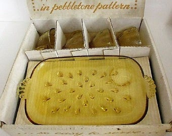 Informal Amber Glass  Snack Set , Vintage Collectable, In the original box , Excellent Condition, with Reduced Shipping, PRICE REDUCED