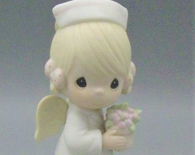 """Precious Moments Figurine """"Angel of Mercy"""" 1986 in the Original Box, Excellent Condition , Retired Figurine, Vintage Collectable"""