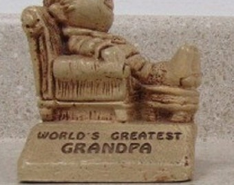 "Vintage Paula Figurine ""Worlds Greatest Grandpa"" from 1970, Excellent Condition, Reduced Shipping"