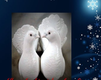 """Lladro Doves No. 1169 , 1971 , Unique  VINTAGE Collectable Figurines  In Excellent Condition, """"Couple of Doves"""" perfect gift for Christmas"""