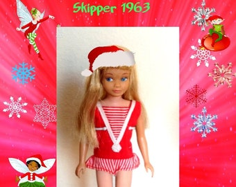 Vintage 1963 Skipper Doll in her original box w Stand in original clothing, minus one shoe, In excellent condition, Free Shipping