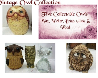Owl Collection of Five Vintage Figurines,  Each Owl with a Different Look, Excellent Condition, With Reduced Shipping