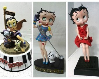Vintage Betty Boop Collectables, Gift Set of Three Figurines, Small, Medium and Large, All in Very Good Condition