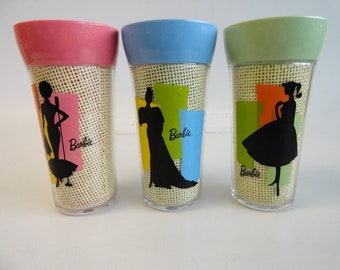Barbie Vintage Trudeau Barbie Tumblers, Three Tumblers in Pink, Blue and Yellow, All in Excellent Condition, With Reduced Shipping