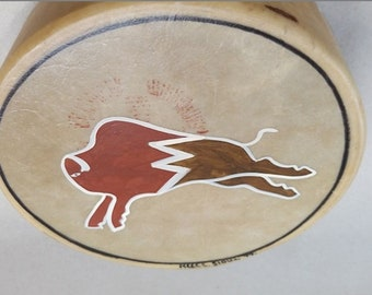 Vintage Sioux Pow Wow Drum, Handmade, From 97, With Free Shipping