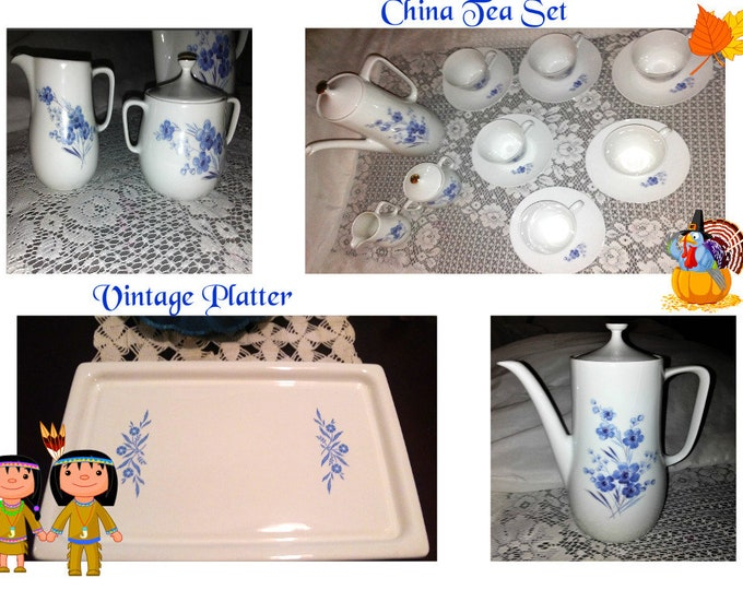 Featured listing image: Holiday Tea Set and Serving Platter, Get ready for your Guest with this Beautiful Vintage China Tea Set and Vintage Corning Wear Platter