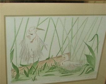 Vintage Original Art Painting signed by G. Pike, The Hiding Place, Large 28 X 40, Framed, With Reduced Shipping