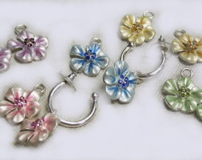 Vintage Silver Hoops with Five different colored flowers to match any color you wear, Very Cute Set for a Woman or young Girl.