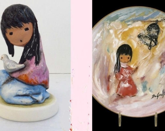"""De'Grazia Collector Set  with Gold and Rust colors- Collector Plate """" Bell of Hope""""  Signed LE and Gobel Figurine 1988 """"Girl with Dove"""""""