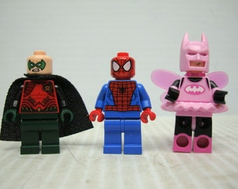 Lego Mini Collectable Figures, Set of Three, Batman, Robin and Spiderman, In Good Used Condition, With Reduced Shipping