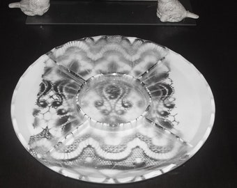 Vintage Crystal Cut Glass Shabby Chic Divided Serving Platter with Four Sections, Excellent Condition , Reduced Shipping