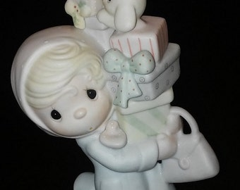 "Vintage Precious Moments Figurine ""Bundles of Joy"" 1982 by Enesco, Excellent Condition with no Cracks or chips"