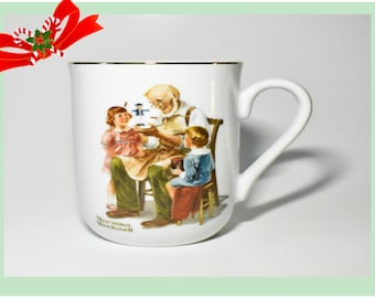 Host Gift Norman Rockwell Collectable Coffee Mugs, Three Small, 5 oz, Vintage, Reduced SHIPPING