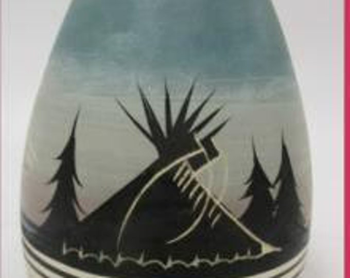 Small American Indian Theme Clay Vase, Hand Painted ,  New Condition, Perfect for any Room, With Reduced Shipping
