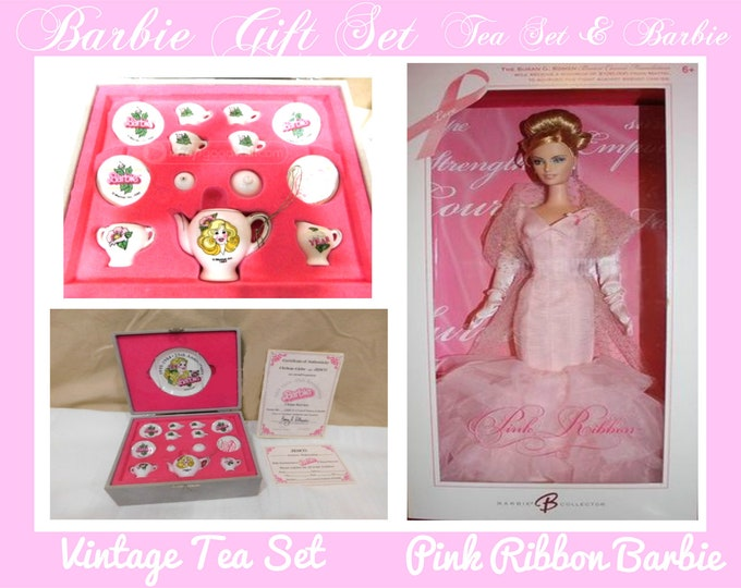 Barbie Vintage 1984 China Tea Set in the original box, With the Pink Ribbon Barbie,  Barbie Gift Set, With Reduced Shipping