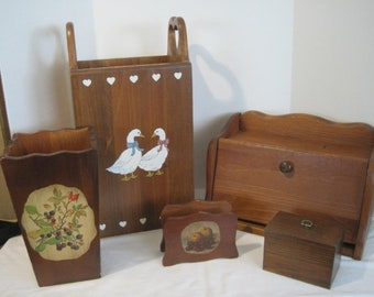 Vintage Wood Kitchen Storage items from the 70s, Large Set includes Wood Trash Holder, Bread Box, Small Trash , Recipe Box & Napkin Holder