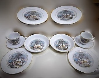 """Avon Courier and Ives  Fine Porcelain CHRISTMAS SET   from 1981 """"Old Grist Mill"""" Vintage Two  5 Peice Settings  with Reduced Shipping"""