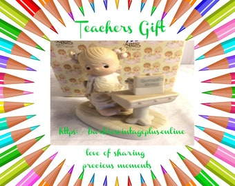 """Teachers Gift , Precious Moments Figurine """"Love of Sharing"""" in the original box excellent condition, w/ Reduced shipping"""