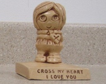 "Paula Vintage Figurine from 1969, ""Cross My Heart I Love You"" in Excellent Condition, With Reduced Shipping"