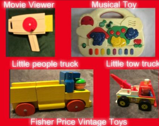 Toys- CLEARENCE ITEM  Vintage Fisher Price Set with Four Toys in Excellent Condition